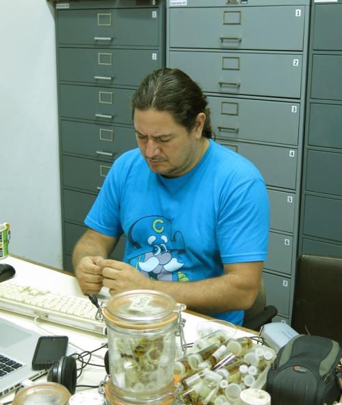 Carlos Viquez, the curator of the arachnid collections, INBio, San Jose, Costa Rica