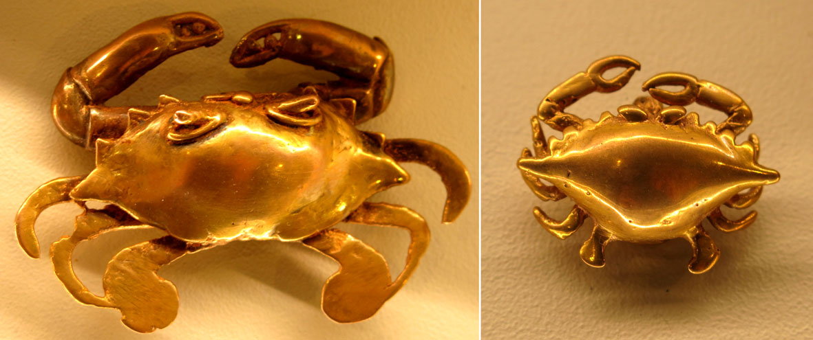 Crab-shaped pendants.