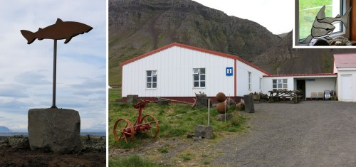 The road sing and the building of the Shark Museum at Bjarnarhöfn, Iceland
