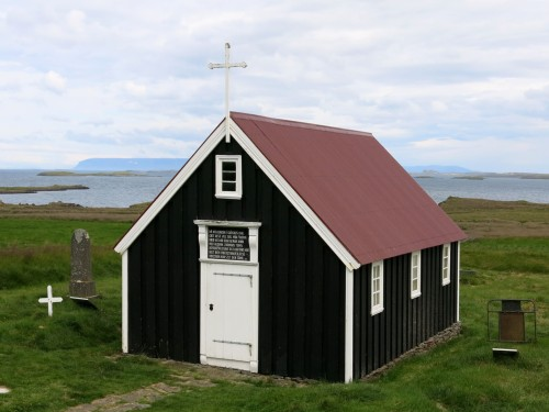 One of the oldest wooden churches of Iceland built up in 1856-59; Bjarnarhöfn, Iceland.